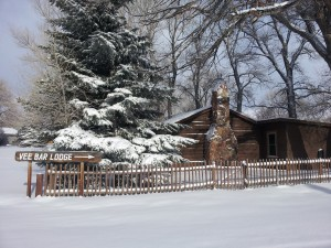 Winter snow at one of the cabins at the Vee Bar Guest Ranch