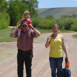 Kelly, Bailey, and Kari on a walk to the lodge for lunch.