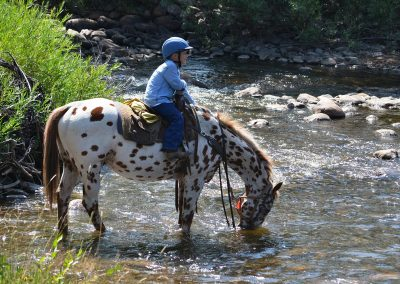 child riding horse through river